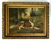 A Late 19th Century Oil Painting On Canvas Of A Nice-looking St. Bernard Dog