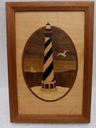 Hudson River Wood Inlay Marquetry Nelson Hatteras Nc Lighthouse 6.75 X 9.75 Euc
