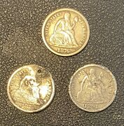 Lot Of 3 Us Mint Seated Liberty Dimes 10c Coins, 1875, 1876, 1891, Circulated
