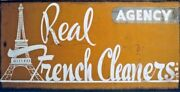 2x Sided Antique Metal Advertising Sign Sunbury Pa Real French Cleaners Agency