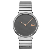 rare Lacoste 2010954 Moon Gray Silver Stainless Steel Unisex Watch With Case