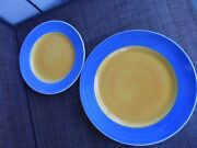 Pier 1 Plates  Yellow Center And Blue Outer Band 4 Ea Dinner And Salad Italy  Euc