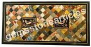 50x25 Black Marble Decorative Mosaic Dining Table Top Birds Arts Furniture
