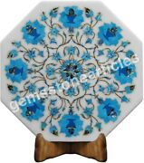 12x12 Marble White Wall Tile Inlaid Turquoise Florals Design Black Friday Gift