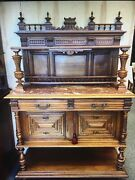 French European Victorian Server With Marble Top
