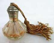 Vintage Old Rare Fine Hand Crafted Glass Beautiful Parfum Bottle With Brass Cap