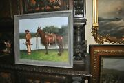 Powerful Americana Cowboy With Horse Signed