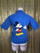 Antonio Guiseppe Vintage 70s Disney Mickey And Minnie Embroidered Denim Shirt S