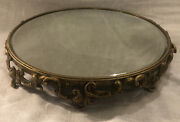 """Fancy Brass And Painted Cast Iron Beveled Mirror Plateau 2 1/4"""" X 13"""""""