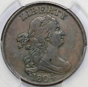 1804 1/2c C-1 Crosslet 4 With Stems Draped Bust Half Cent Pcgs Xf 45