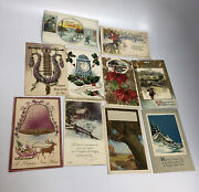 10 Lot Of 10 Vintage Postcards New Years Themed
