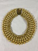 Vintage Miriam Haskell Costume Bib Choker Ivory Color Beads Necklace Frank Hess