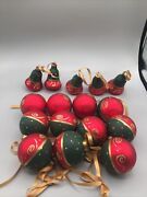 Red Green Gold Glitter Glass Christmas Tree Ornaments Decorations Lot Of 16