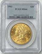 1903-p 20 Liberty Gold Double Eagle Pre-33 Pcgs Ms64 Small Mintage Of 287270