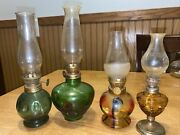 """Lot Of 4 Oil Lamps Multi Colored Green Amber Cafe Different Sizes 7""""-9"""" Tall"""