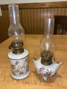 """Lot Of 2 Oil Lamps Fine China Enesco Floral Garden Society 1975 Vintage 7-8"""" H"""