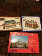 Lot Tyco Ho Scale Hopper Car Unloading Set Ihc Machine Shop And Colonial Church