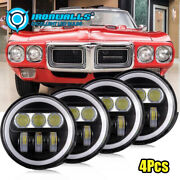4pcs 5 3/4 5.75 In Round Led Projector Headlights Sealed Beam Ring Lamp Bulbs