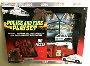 Imperial Brand Police And Fire Playset For Kids 50 Pieces - Nib