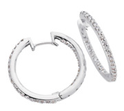 1.03ct Diamond 14k White Gold 3d Classic Inside Out Huggie Hoop Hanging Earrings