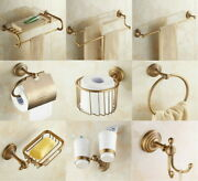 Wall Mounted Antique Brass Bathroom Accessory Set Towel Holde Toilet Roll Holder