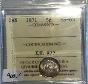 1871 Canada Small Five Cents Silver Coin - Iccs Ms-63 - Xjl 877