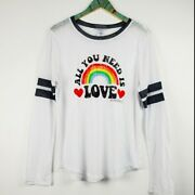 Vintage Concert Tees Women's Graphic T-shirt White All You Need Is Love Sz Xxl