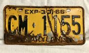 1965-66 Maryland License Plate