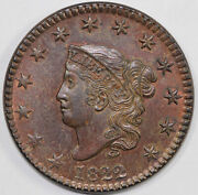 1822 1c N-1 Coronet Or Matron Head Large Cent With Tags