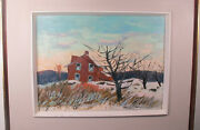 Henri Leopold Masson Painting The Red House Canadian Artist Listed