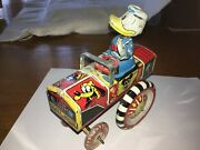 Vintage Linemar Disney Dipsy Donald Duck Tin Wind Up Car Good Condition