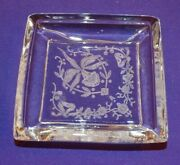 Lovely Heisey Glass Individual Square Butter Pat Or Ashtray W/ Orchid Etch