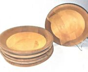 Mid Century Modern Handcrafted 1970and039s Wooden Salad Bowls Set Of Six