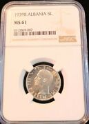 1939 Albania Silver 5 Lek Wwii Italian Occupation Ngc Ms 61 Nice Mint State Coin