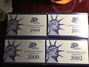 1999 2000 2001 2002 Uncirculated United States Mint Proof Sets W/state Quarters