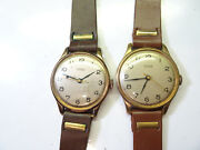 Sorna Lot Of 2 Vintage Blue Hand Swiss Wrist Watches Running To Restore Bands