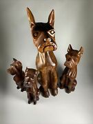 Lot Of 4 Made In Philippines Carved Wooden Dog Figurines