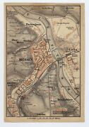 1900 Antique City Map Of Meissen Saxony Showing Royal Porcelain Factory Germany