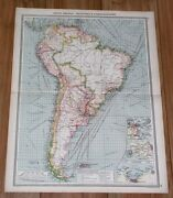 1908 Antique Map Of South America Industry Commerce Brazil Chile Argentina