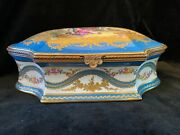 Large Antique French Sevres Style Porcelain And Bronze Box