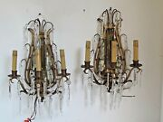 Antique Pair Of Fine Bronze Lyre And Mirror Cut Crystal 3 Light Wall Sconces