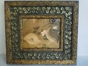 Exceptional Vtg Antique Victorian Picture Frame And Quail Birds Print Log And Floral
