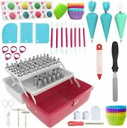 New 246 Pc Cake Decorating Tools Kit Piping And Frosting Tips Bags Storage Chest
