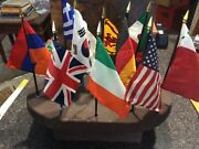 Homemade Wood Stand With Ten Countries Flags