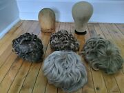 Lot Of Vintage Antique Canvas Wood Mannequin Heads Hat 2 Stands 4 Wigs Chicago