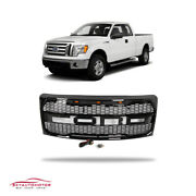 Fits Ford F150 2009-2014 Front Upper Grille Raptor Style With Lamp Gloss Black