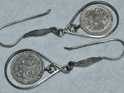 Antique Imperial Russian Sterling Silver 84 Womenand039s Jewelry Earrings Coins 8 Gr