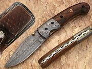 Mountain Hikers Damascus Steel Folding Knife Solid Wood Handle At-1553