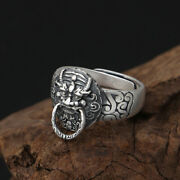 Real Solid 990 Sterling Silver Rings Jewelry Dragon Lion Open Size 7-10