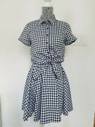 Ingni Japanese Brand Gingham Collared Shirt Dress Knot With Matching Skirt Small